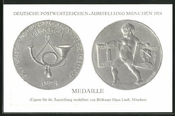 AK München, Deutsche Postwertzeichen-Ausstellung 1924, Medaille mit Posthorn, Junge mit Briefmarken