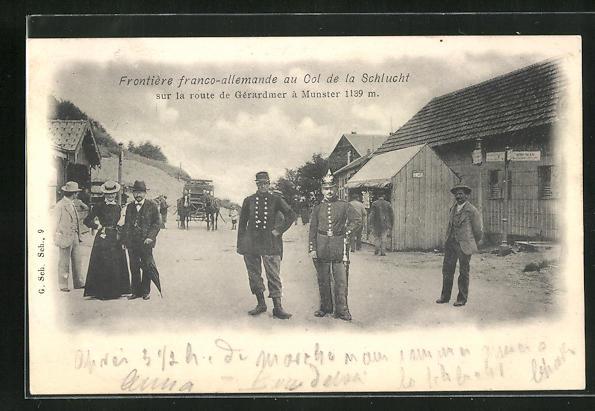 AK Col de la Schlucht, Frontière franco-allemande sur la rout de Géradmer à Munster, Grenze