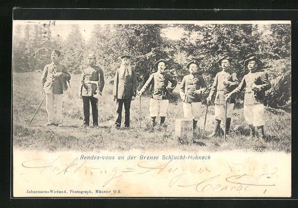 AK Hohneck, Soldaten an der Grenze Schlucht-Hohneck