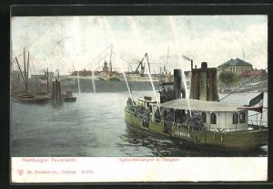 AK Hamburg, Feuerwehr mit Löschboot Abendroth im Einsatz