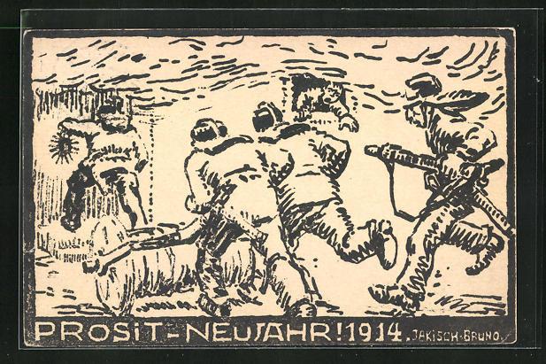 AK Feuerwehr rückt zum Löschen eines Brandes aus, Prosit Neujahr 1914!