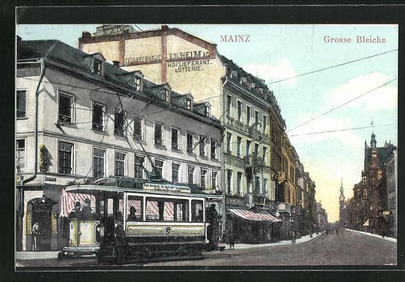 AK Mainz, Strasse Grosse Bleiche mit Strassenbahn