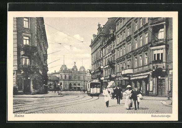 AK Mainz, Bahnhofstrasse mit Strassenbahn