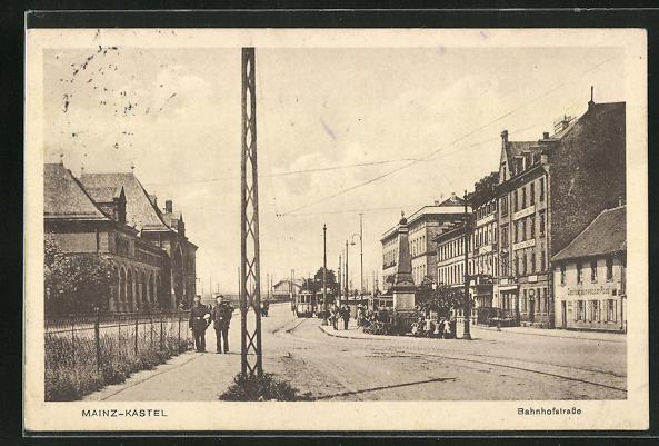 AK Mainz-Kastel, Bahnhofstrasse mit Strassenbahn