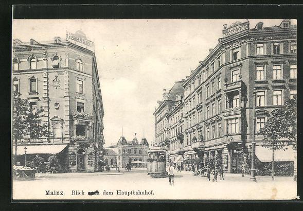AK Mainz, Strassenpartie mit Strassenbahn, Hotel Mainzer Hof, Blick zum Hauptbahnhof