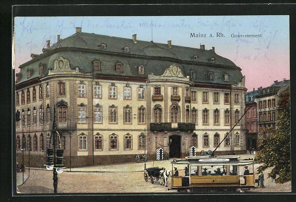 AK Mainz, Strassenbahn vor dem Gouvernement