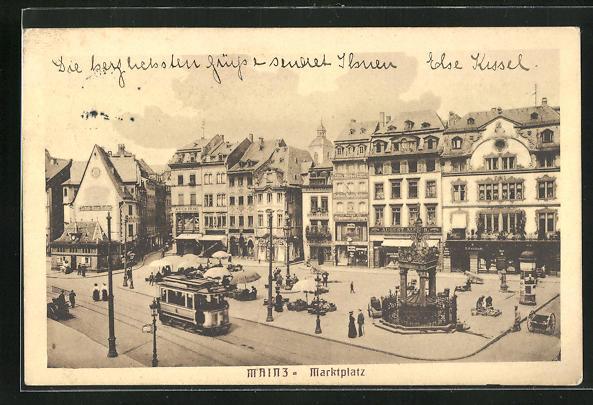 AK Mainz, Marktplatz mit Strassenbahn aus der Vogelschau