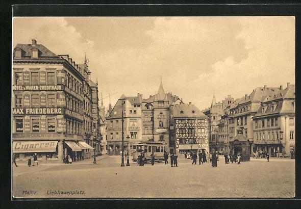 AK Mainz, Strassenbahn auf dem Liebfrauenplatz