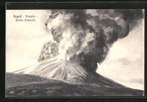AK Napoli, Vulkan Vesuv stösst Rauchschwaden aus