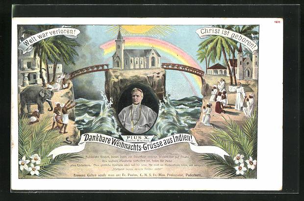 AK Bildnis Papst Pius X., Inder vor Kirche und mit Elefant, Weihnachtsgrüsse aus Indien!