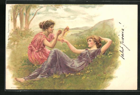 AK Schriftsteller William Shakespeare, Szene aus Ein Sommernachtstraum, Mädchen auf der Wiese