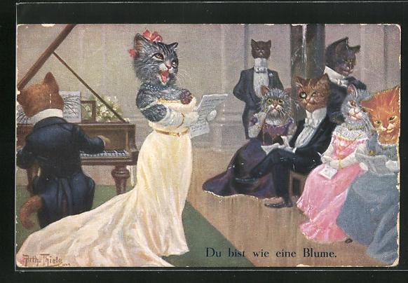 Künstler-AK Arthur Thiele: Vermenschlichte Katzen lauschen dem Klavierspiel und der Sängerin