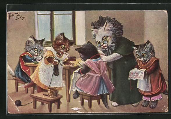 Künstler-AK Arthur Thiele: Vermenschlichte Katzen in der Nähstube