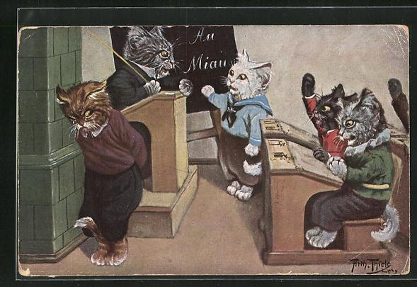 Künstler-AK Arthur Thiele: Vermenschlichte Katzen in der Schulstunde