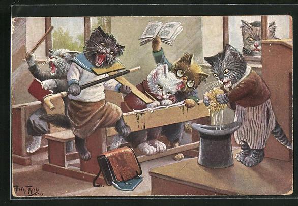 Künstler-AK Arthur Thiele: Vermenschlichte Katzen machen Unsinn in der Schule