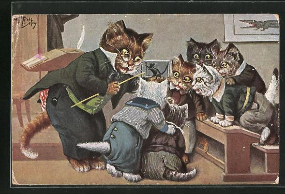 Künstler-AK Arthur Thiele: Vermenschlichte Katzen betrachten eine Maus im Biologie-Unterricht