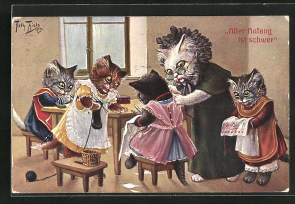 Künstler-AK Arthur Thiele: Vermenschlichte Katzen üben Handarbeiten, Aller Anfang ist schwer