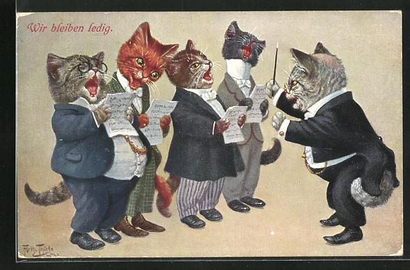 Künstler-AK Arthur Thiele: Vermenschlichte Katzen proben ein Lied im Chor