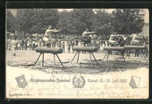 AK Zürich, Eidgen. Turnfest 1903, Turner bei Übungen am Pferd
