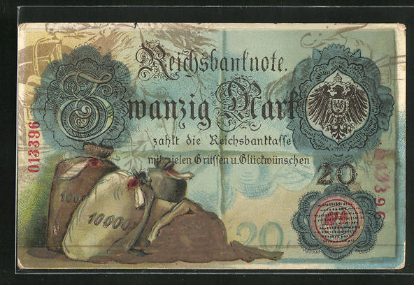 AK Reichsbanknote über Zwanzig Mark, Reichsadler und Geldsäcke