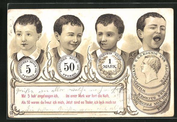 AK Kind freut sich über seine Sparerfolge, 5 Pfennig, 50 Pfennig, 1 Mark