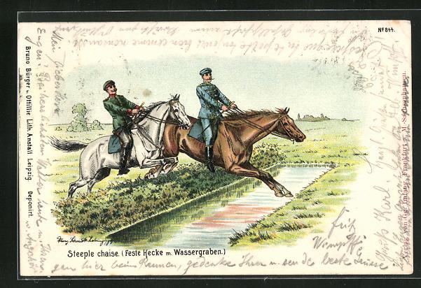 AK Soldaten springen mit ihren Pferden über eine feste Hecke mit Wassergraben, Pferdesport
