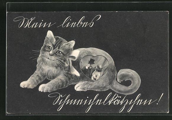 AK Treue Katze mit Herzbild eines Paares auf dem Körper