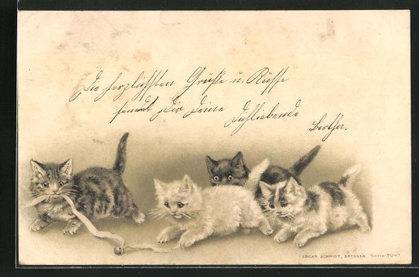Präge-AK Katzen spielen mit einem Band