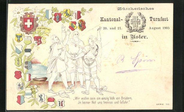 Präge-AK Uster, Zürcherisches Kantonal-Turnfest 1905, Männer beim Schwur, Wappen