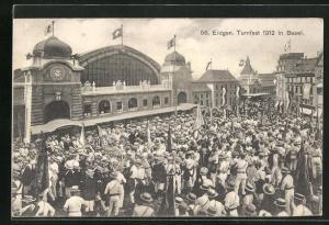 AK Basel, 56. Eidgen. Turnfest 1912, Ankunft der Teilnehmer am Bahnhof