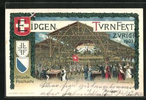 AK Zürich, Eidgen. Turnfest 1903, Festhalle, Schweizer Flagge, Wappen