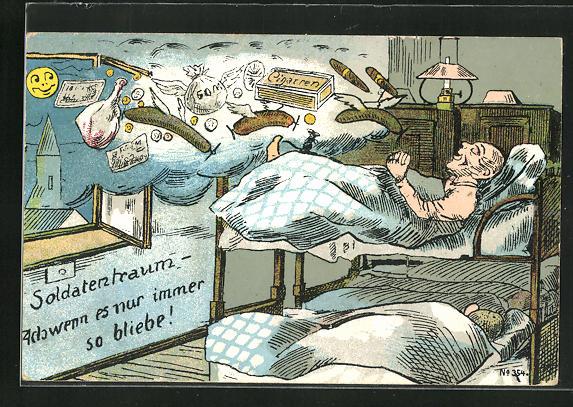 AK Soldat im Stockbett träumt von fliegenden Würsten und Zigarren