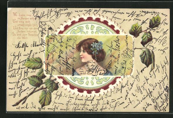 Präge-AK Frau mit Blumen im Haar im Jugendstil