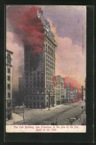 AK San Francisco, The Call Building, in the grip of the fire 1906