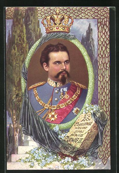 AK Portrait Ludwig II. von Bayern in Uniform mit Orden