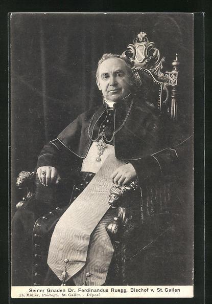 AK Portrait Seiner Gnaden Dr. Ferdinand Ruegg, Bischof v. St. Gallen