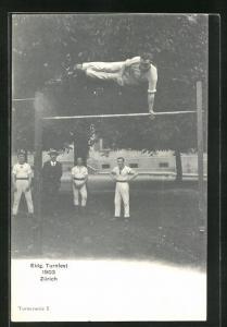 AK Zürich, Eidg. Turnfest 1903, Turner am Reck