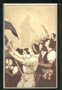 AK Jugendliche mit Fahne, Journee de la Jeunesse 1920