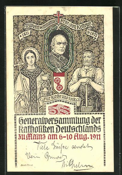 AK Mainz, Generalversammlung der Katholiken Deutschlandst 1911, Portrait Wilhelm Emmanuel Freiherr von Ketteler