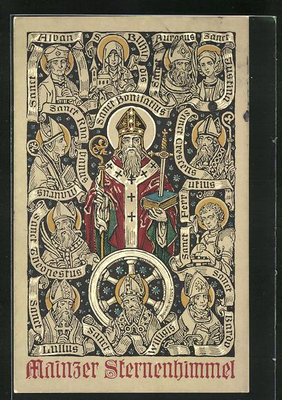 AK Mainz, 53. Generalversammlung der Katholiken Deutschlands 1911, Mainzer Sternenhimmel Sanct Alban, Sanct Lullus