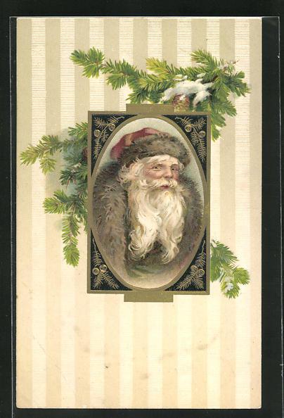 Präge-AK Weihnachtsmann mit Pelzmütze und Mantel, Tannenzweige