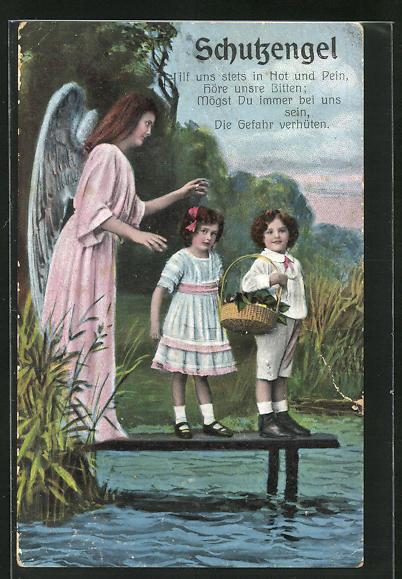 AK Schutzengel, Junge und Mädchen auf Steg an Wasser werden von Engel bewacht