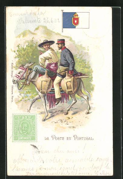 Lithographie portugiesischer Briefträger auf Esel mit Bauern, Fahne