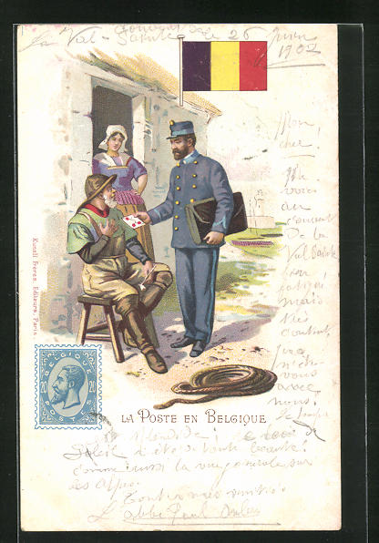 Lithographie belgischer Postbote überreicht Brief an alten Fischer, Fahne