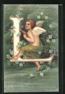Präge-AK Buchstabe L, Engel mit grünem Tuch und blauen Blumen