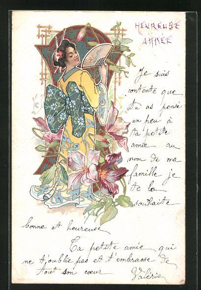 AK Jugendstil, Geisha mit Fächer und Blumen, Rückenansicht