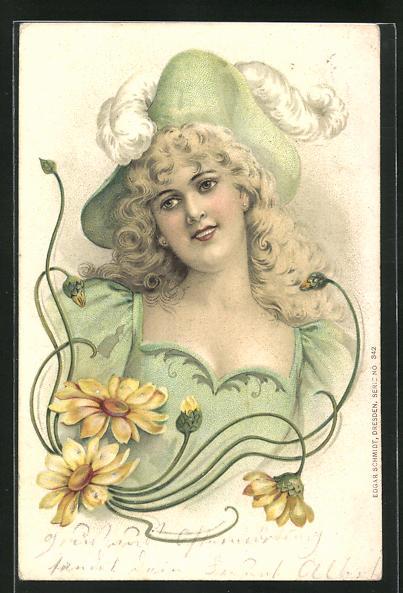 Präge-AK Jugendstil, blonde Dame in grünem Kleid mit Hut, Sonnenblumen