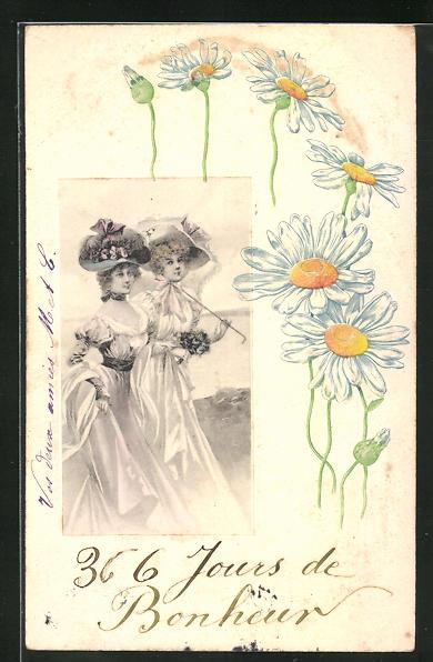Präge-AK Jugendstil, zwei elegante Damen mit Hüten und Sonnenschirm, Blumen