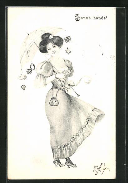 AK Jugendstil, Dame mit Sonnenschirm, an dem Herz, Kleeblatt, Schwein, Hufeisen, Blume und Stern hängt