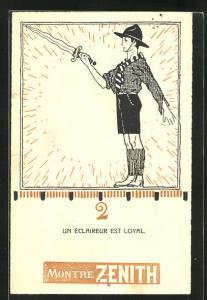 AK Pfadfinder Junge mit gezücktem Schwert